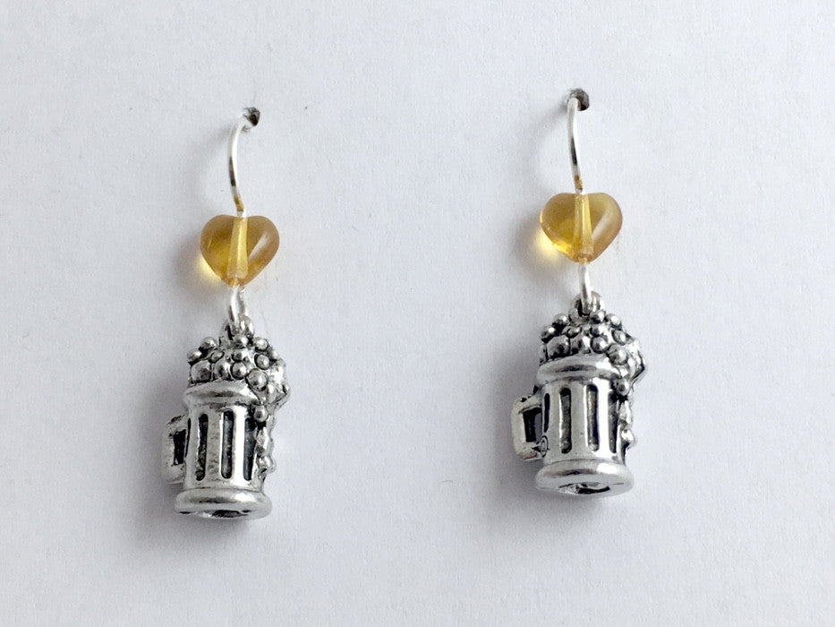 Pewter & sterling silver Beer Stein earrings-Brewery, Mug, Drinks, Brewpub,heart