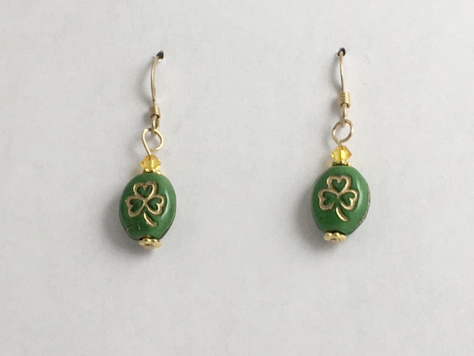 Green and gold glass shamrock dangle earrings-St. Patricks Day, 14k GF,shamrocks