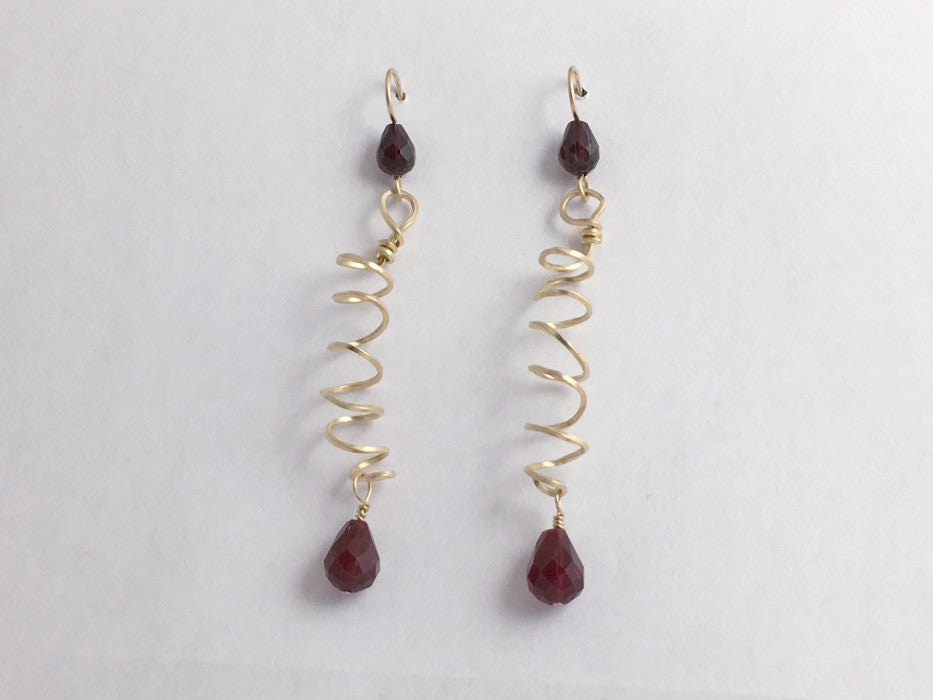14k gold filled long spiral dangle earrings- burgundy crystal, 2 1/8 inches, curlicue