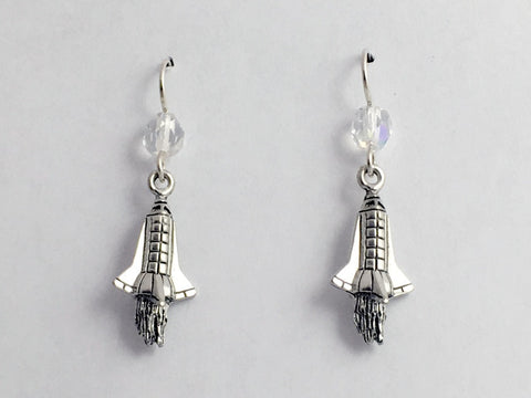 Pewter & sterling silver 3D Rocket ship earrings-Space, Shuttle, Travel, Rockets