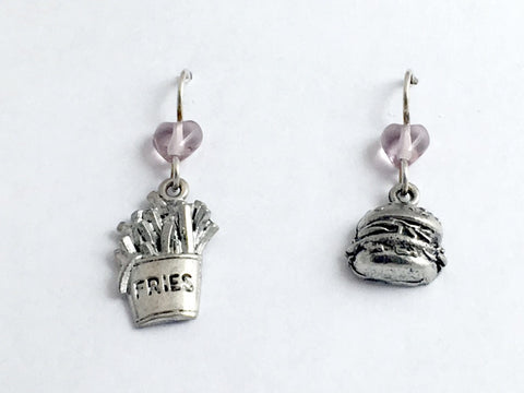 Pewter & Sterling Silver Hamburger & French Fries dangle earrings- burger, chips