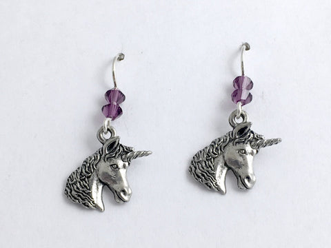 Pewter and sterling silver unicorn head dangle earrings-unicorns, horn, crystal