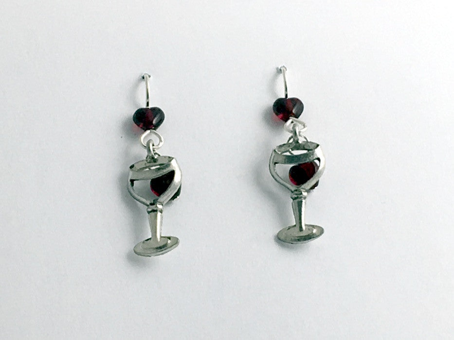 Pewter & sterling silver Wine glass w/ hearts earrings- drinks, Red, tasting, winery