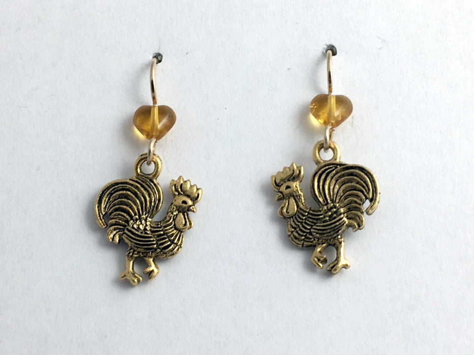 Goldtone Pewter & 14k GF Rooster dangle Earrings-Chicken, Bird, Year of, roosters