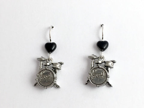 Pewter & sterling silver drum kit dangle earrings-percussion, drummer, rock band