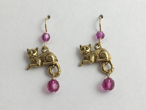Gold-Tone Pewter& 14k gf earwire Lounging Cat earrings- cats, pussy, feline,pink