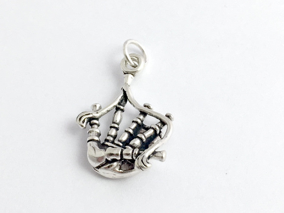 Sterling Silver Bagpipe Charm or pendant- Celtic, Music, Bagpiper, Piper, Bag