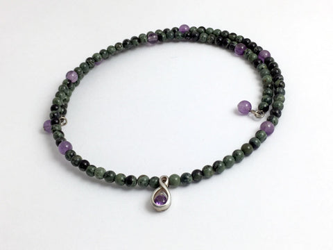 Kambaba Jasper and amethyst with Sterling silver faceted amethyst Centerpiece Memory Wire Choker