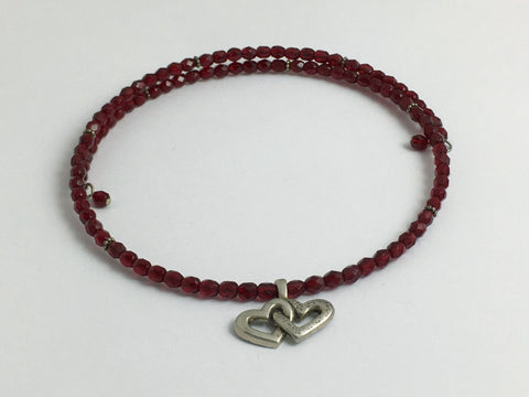 Deep red faceted glass with Sterling silver Double Heart Centerpiece Memory Wire Choker
