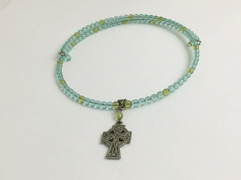 Aqua and peridot color glass with Pewter Celtic Cross Centerpiece Memory Wire Choker