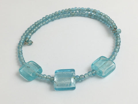 Aqua glass with 3 Aqua Foil Glass bead Centerpiece Memory Wire Choker