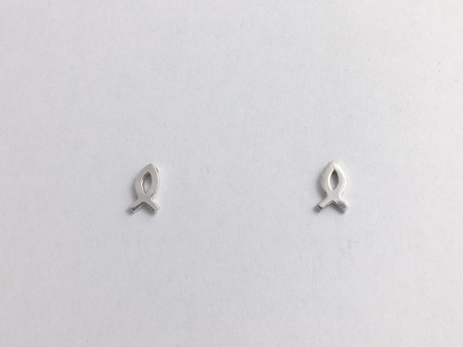 8b26192d2 Sterling Silver tiny ichthus stud earrings-Christian, fish, Jesus, Religion