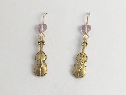 Goldtone Pewter & 14k gf violin earrings-music, fiddle, bluegrass, orchestra