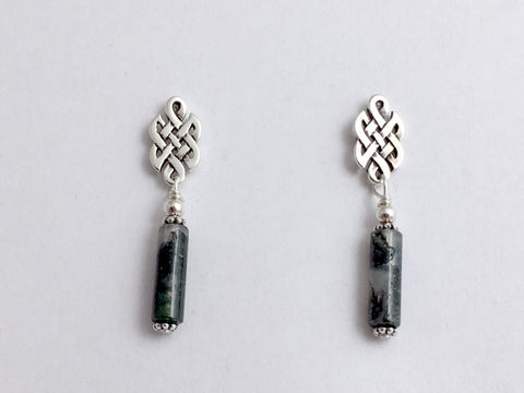 Sterling Silver & surgical steel  Celtic knot stud Earrings- Moss Agate