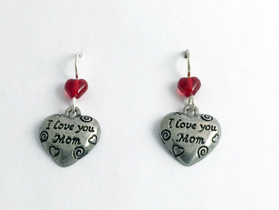 Pewter & Sterling silver I Love You Mom heart dangle earrings--red, Mother, gift