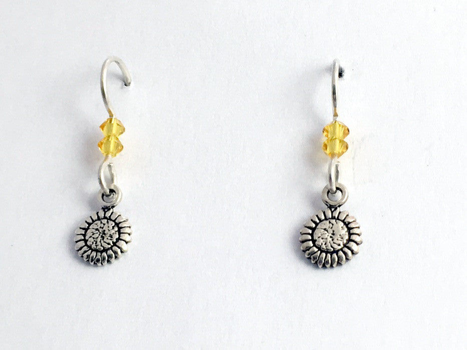 Sterling Silver tiny sunflower dangle earrings- sun flowers, yellow Crystal