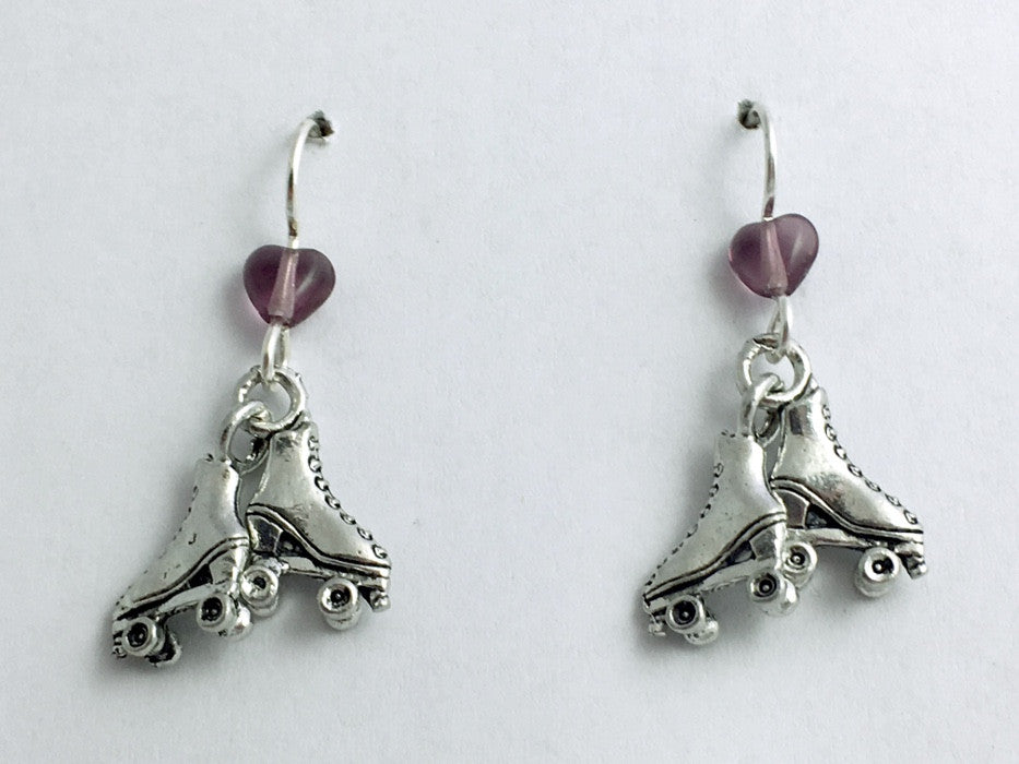 Pewter  & Sterling Silver Roller Skate dangle Earrings- Skates, Pair of, Derby