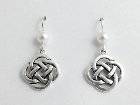 "Pewter & Sterling Silver large Round Celtic Knot dangle Earrings-glass ""pearl"""