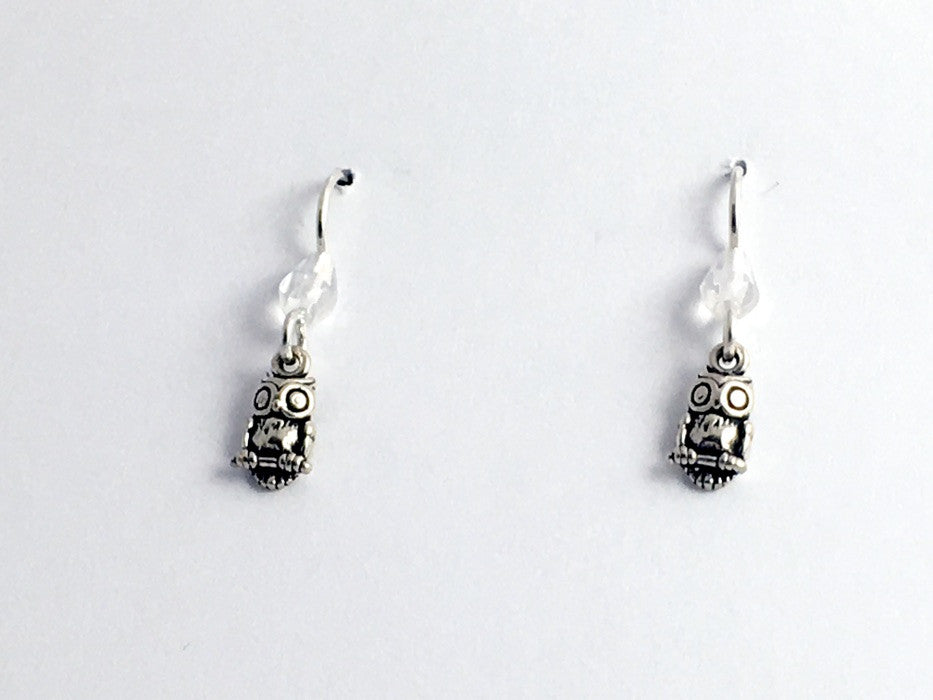 Sterling silver tiny Owl dangle earrings-birds of prey, owls, bird, glass