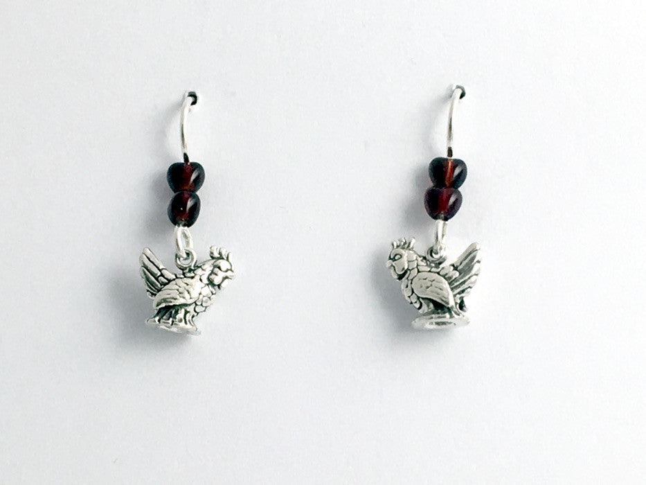Sterling silver small Rooster or Chicken dangle earrings-bird, chickens, hen