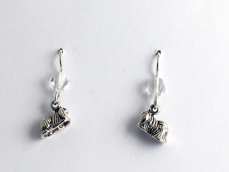 Sterling silver tiny pekingese dog dangle Earrings-dogs, Peke, Lion Dog, canine