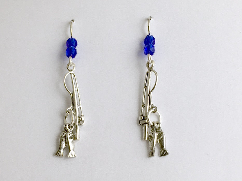 Sterling silver Fishing pole with fish dangle earrings-Rod, Angler, fisherman,