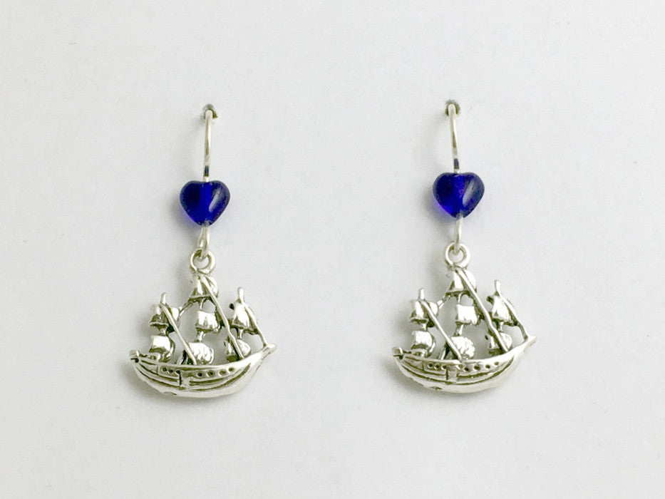 Sterling Silver Sailing Ship dangle earrings-3 masted, barque,ocean, sails,masts