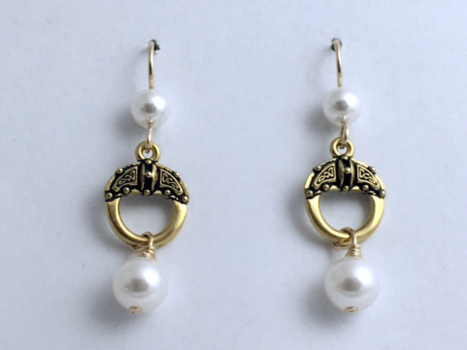 "Goldtone Pewter & 14k gf  circle with  Celtic Knot Earrings-glass ""pearls"",knots"