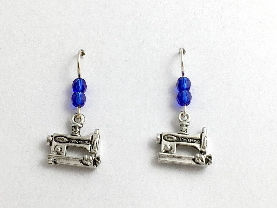 Pewter & Sterling Silver Sewing Machine dangle earrings-sew, seamstress, clothes