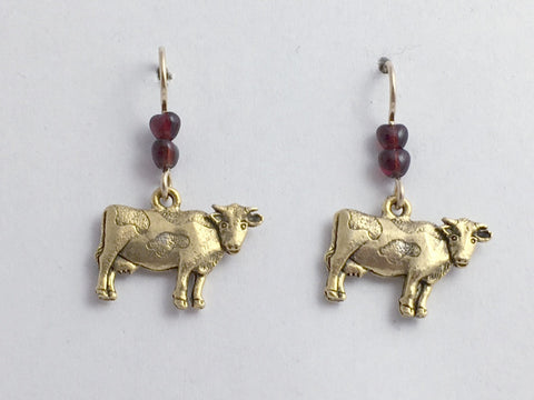 Gold tone Pewter &  14k GF Cow dangle earrings-cows, bovine, cattle, steer, dairy