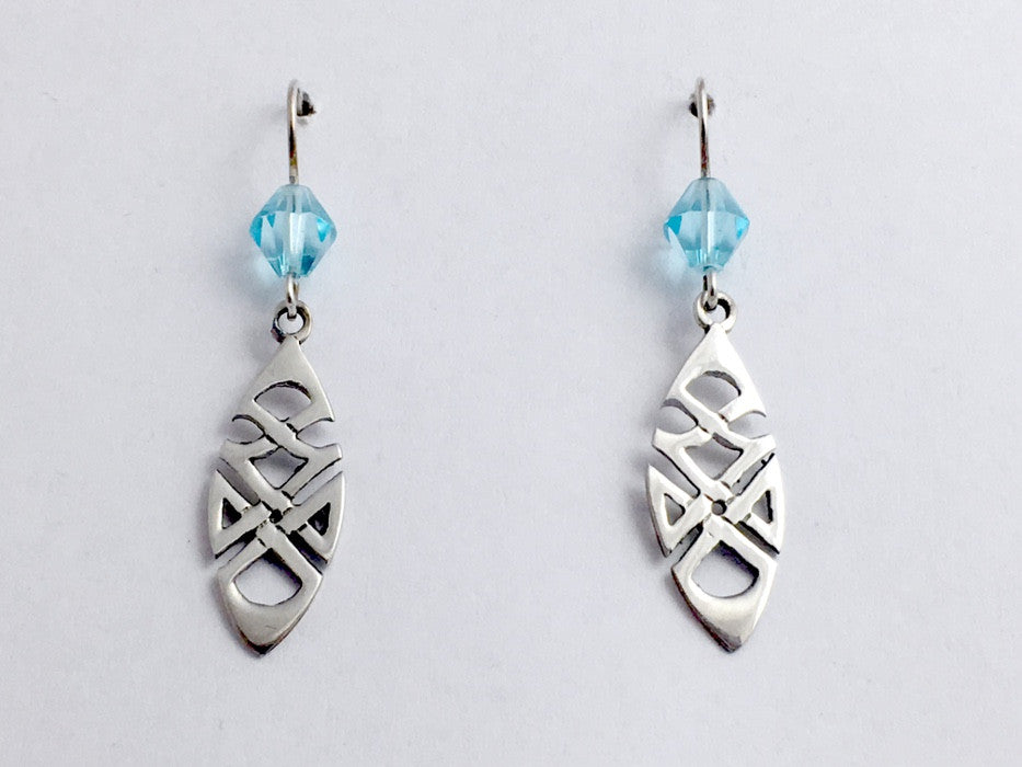 Sterling silver Tribal Celtic knot dangle earrings-aqua glass, knots, angular