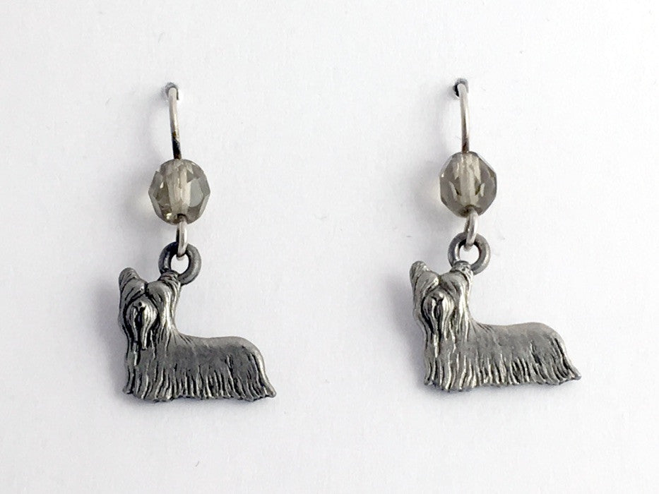 Pewter & sterling silver Yorkie Terrier dog dangle earrings- dogs, Silky, Skye