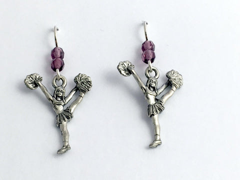 Pewter & Sterling silver Cheerleader dangle earrings- Cheer, Team Colors, kick