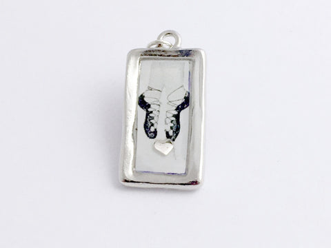 Pewter Frame with Irish Dance soft shoes and sterling silver heart print pendant-resin, Feis,