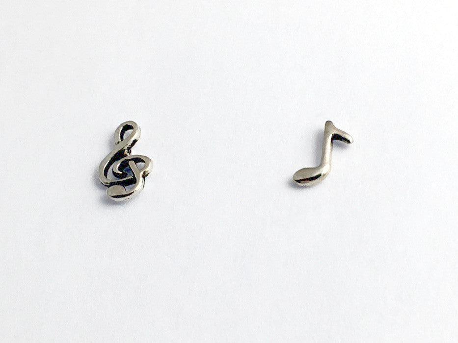 Sterling Silver Treble clef & eighth note stud earrings-music, musician, choir, singer, score