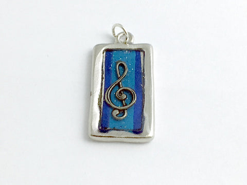 Pewter frame pendant, blue glitter paper, treble clef-resin, musician,music,band