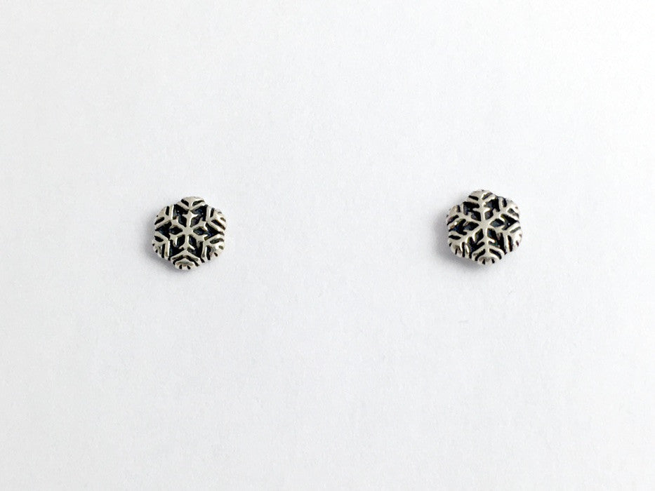Sterling Silver and Surgical Steel small snowflake stud earrings- snow, winter