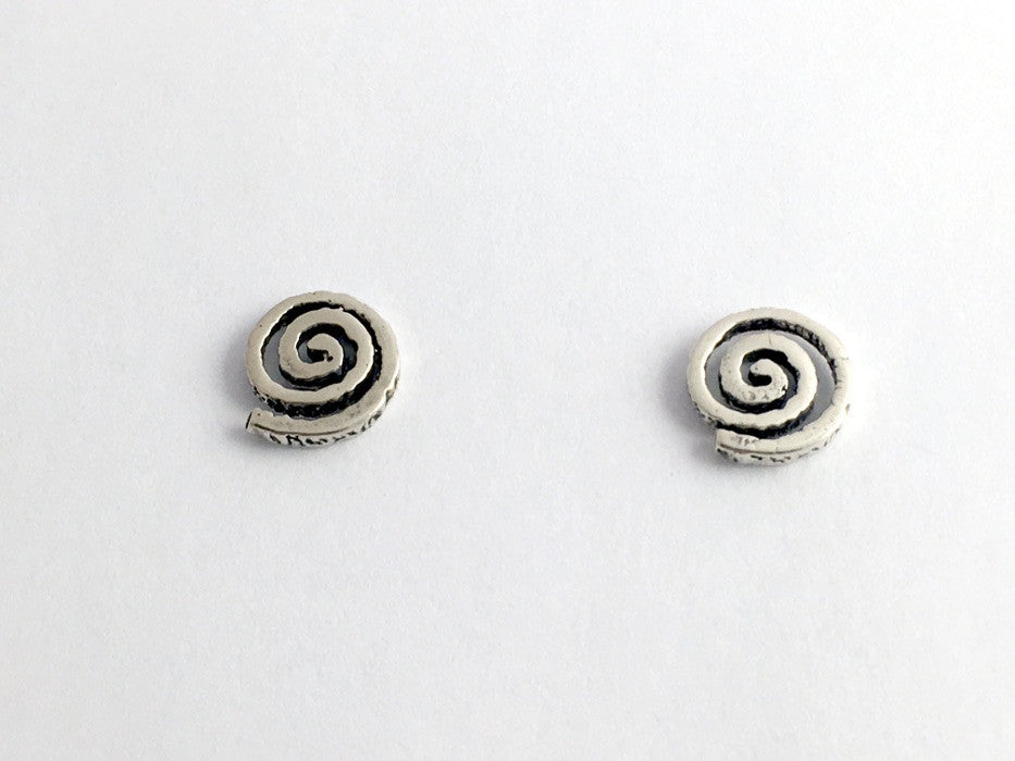 Sterling Silver & Surgical  steel spiral stud earrings-Celtic-spirals, rustic