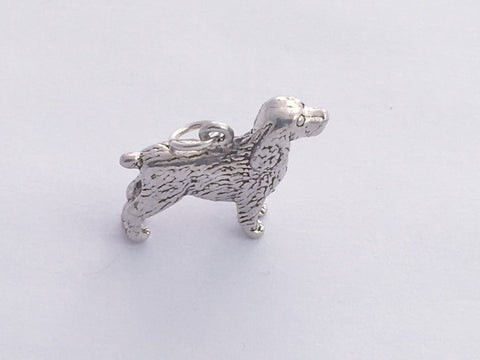 Sterling Silver 3-D Spaniel dog charm or pendant- Spaniels, dogs, Water, Field