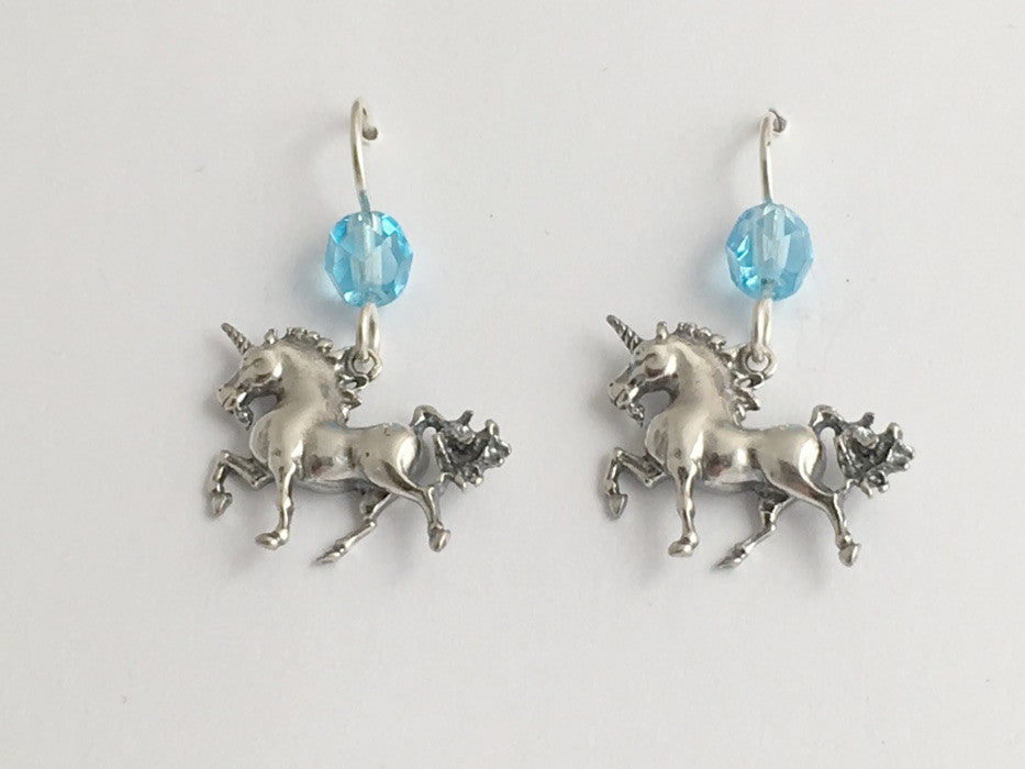 Sterling silver Full Body Unicorn dangle earrings- glass-Fantasy-unicorns,