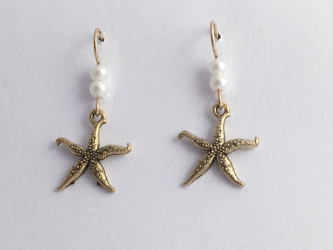 Goldtone Pewter & 14K GF starfish  earrings-ocean-coast-sea, star fish, tidepool
