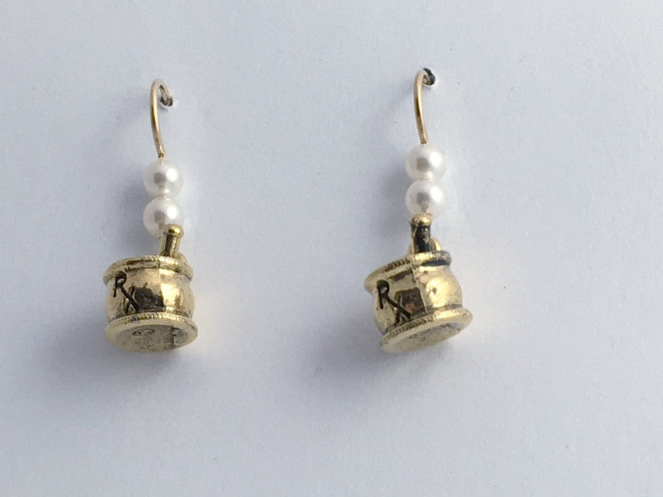 Gold tone Pewter &14k GF Earwire Pharmacist Earrings-Mortar/Pestle RX-Pharmacy