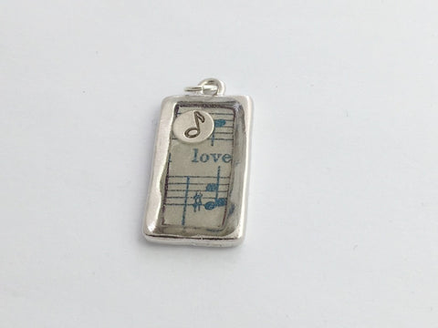Pewter frame, music print, sterling silver note pendant-resin, love, score,notes
