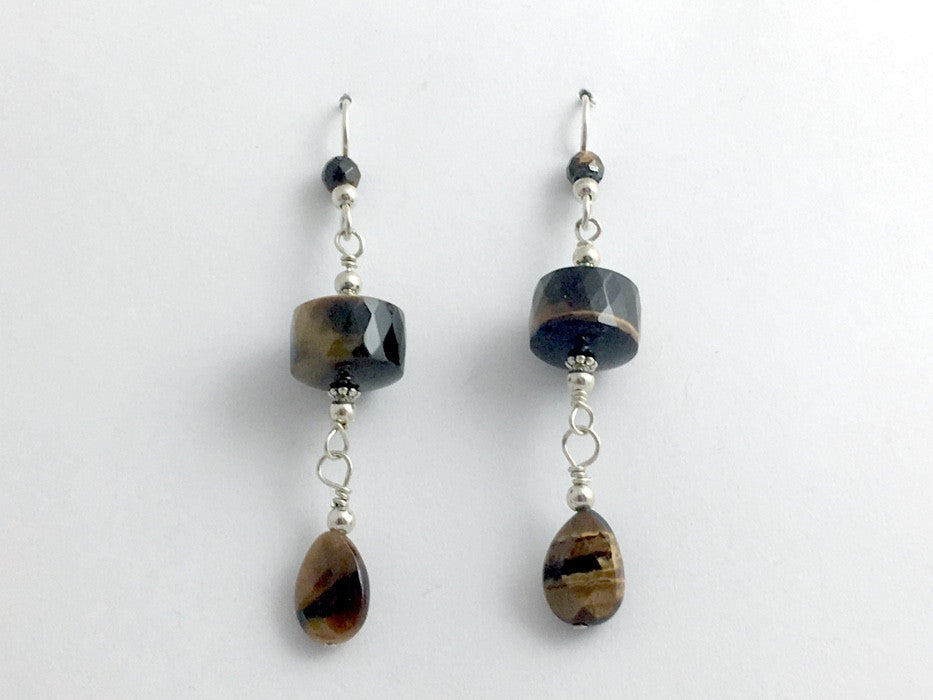 Sterling silver and faceted Tiger Eye  beads dangle earrings- Elegant, 2 1/2""