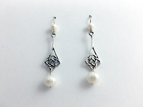 Sterling silver 4 cornered Celtic Knot dangle earrings-fw pearls-Quaternary