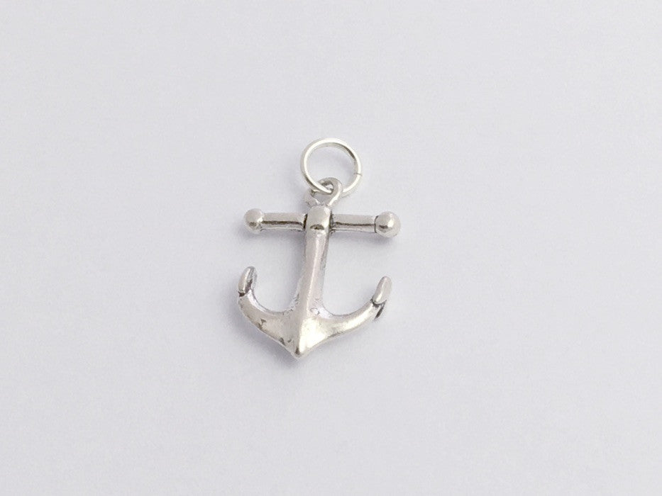 Sterling Silver Anchor pendant or charm,ship,Navy,naval, sea,boat, 3/4 inch long