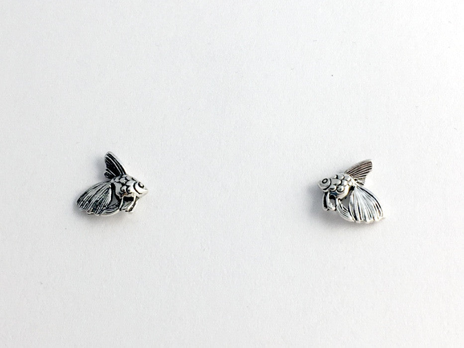 Sterling Silver & Surgical Steel Fancy Goldfish stud earrings- Veiltail, Ryukin, fish