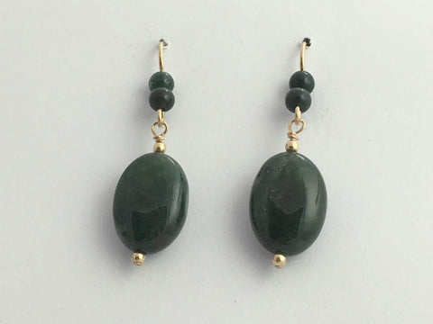 14k gold filled wire and Moss Agate oval bead dangle earrings- 1 7/8 inch long,