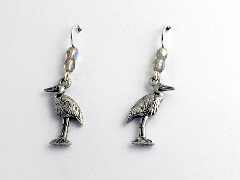 Pewter and Sterling silver Heron dangle earrings-bird- Great Blue- white, egret
