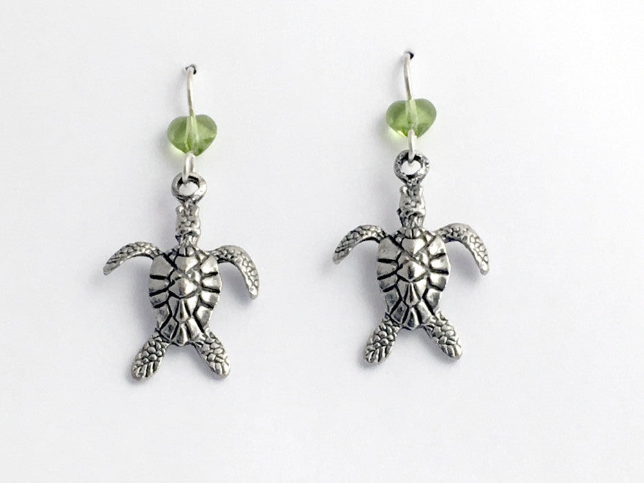 Pewter & Sterling silver large sea turtle dangle earrings-ocean, turtles,hearts